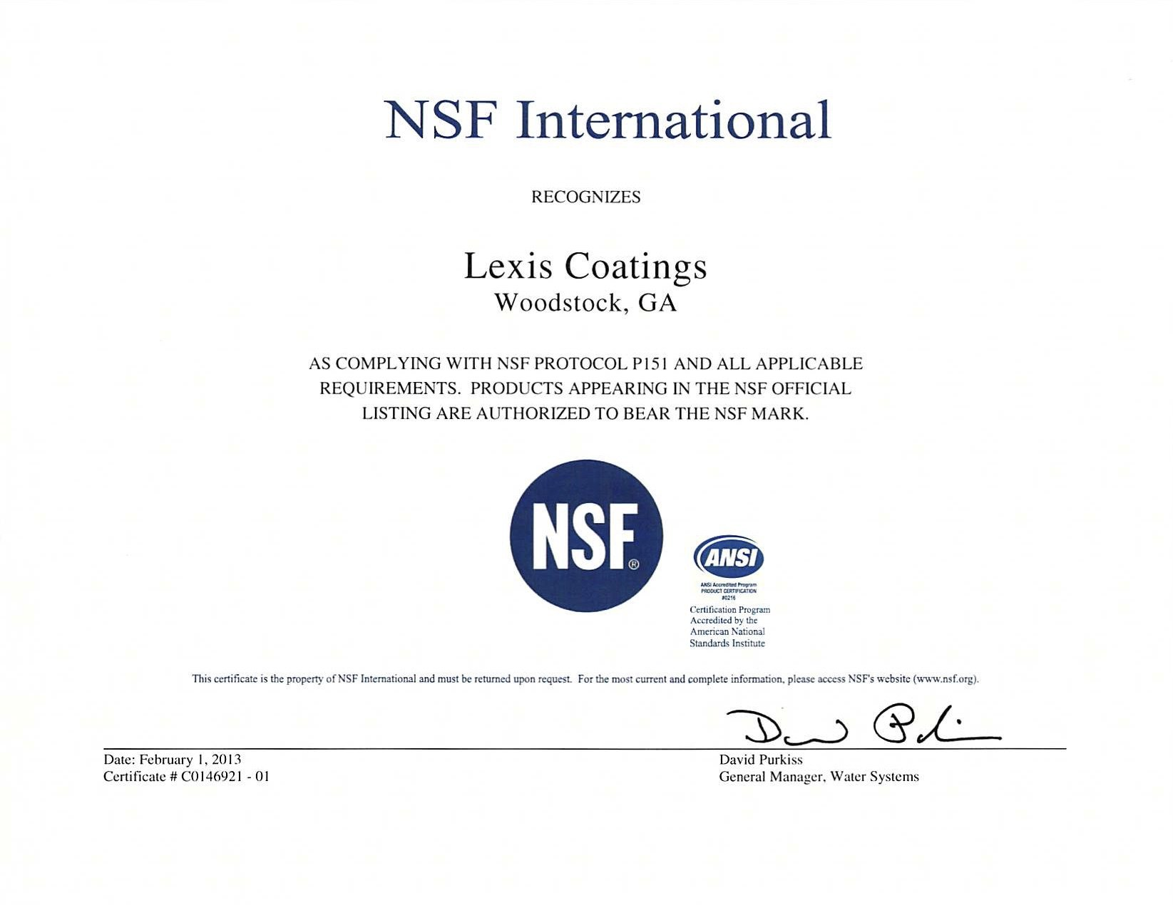 NSF Protocol 151 for Roof Coatings